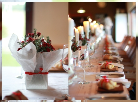 The beautifully decorated tables by Nicole and Maryke...