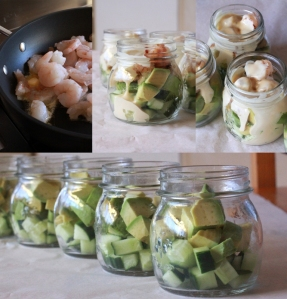 Cucumber avo chilli prawn pots with pinkish mayo...