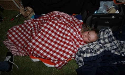 Passed out under the picnic blanket, and resting for our BIG race of tomorrow morning...