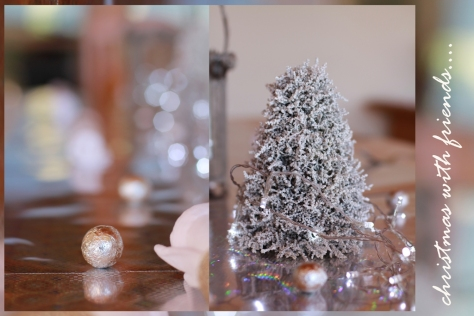 The silver and white themed table...