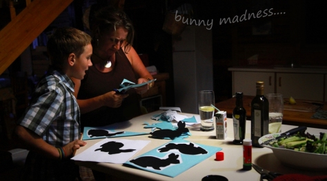 Evie busy cutting out the bunnies...