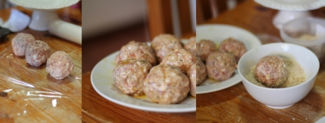 Brush the meatball covered eggs with beaten egg.