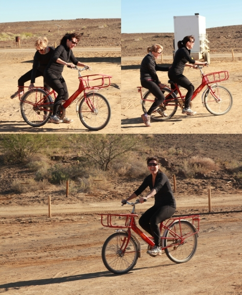 "The ""runners"" on the ""tankwa red bikes"".."