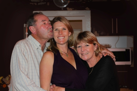 The Birthday girl with her mom and dad..