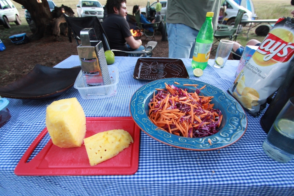 Sweet and crunchy Pineapple, Carrot and red cabbage salad...sleepover at the dam....  (3/6)