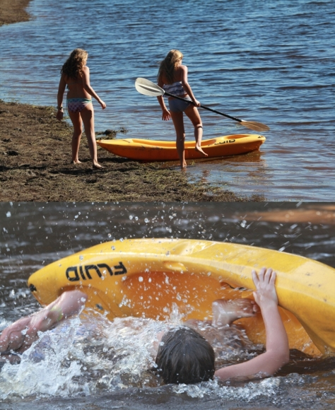Kayaking on the dam...